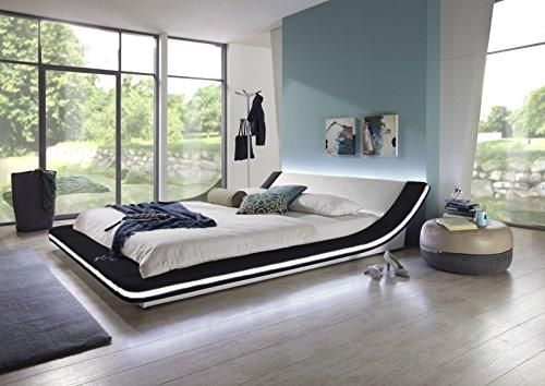 SAM Polsterbett 160x200 cm Custavo in schwarz/weiß, LED-Beleuchtung abgerundetes modernes Design