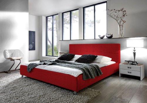 SAM Polsterbett 180x200 cm Zarah in Rot, modernes Design Farbton Kopfteil abgesteppt Wasserbett geeignet