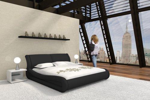SAM® Polsterbett Clip in schwarz 200 x 200 cm geschwungene Seitenteile modernes Design