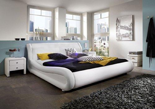 SAM® Polsterbett Clip in weiß 140 x 200 cm geschwungene Seitenteile mit weißen Akzenten modernes Design