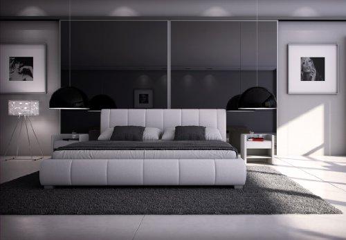SAM Polsterbett Innocent 160x200 cm Designbett Latina, in weiß, Kopfteil im abgesteppten Design, als Wasserbett geeignet