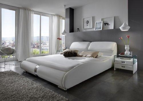 SAM Polsterbett 140x200 cm Lecce in weiß, aufklappbares Kopfteil, Chrom farbene Füße, modernes Design