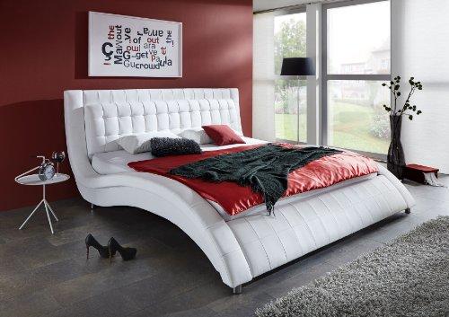 SAM® Polsterbett Modum in Weiß 200 x 200 cm Chrom farbene Füße Kopfteil im abgesteppten Design Wasserbett geeignet