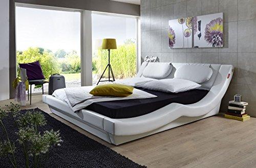 SAM Polsterbett 200x200 cm Pau in weiß, geschwungenes modernes Design, als Wasserbett geeignet