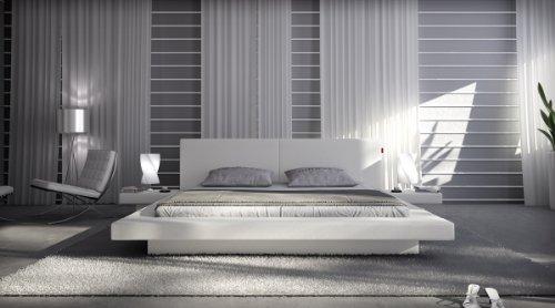SAM® Polsterbett White Pau in weiß 140 x 200 cm modernes Design inklusiv 2 Nachttischablagen Wasserbett geeignet