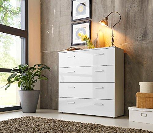 Schubladen Kommode Sideboard Kommode Anrichte Mehrzweckschrank Highboard Schrank MALAGA 3 mit 4 Schubkästen in hochglanz weiß