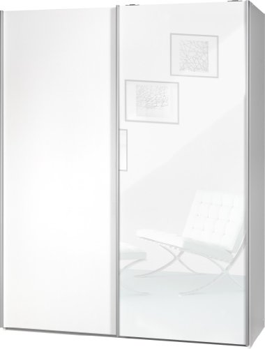 """Schwebetürenschrank """"Soft Plus Smart Typ 43"""", 150 x 194 x 61cm, Weiß/Weiß/Weiß hochglanz"""