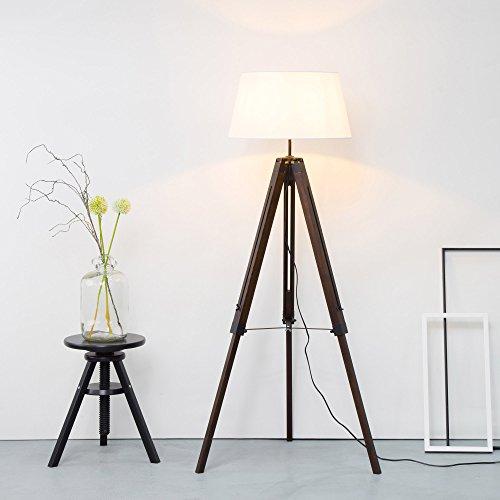 Stativ Stehleuchte mit Textilschirm, Tripod Dreibein aus Holz, H 145 cm, Ø 45 cm, 1x E27 max. 60W, Metall / Holz / Textil, holz dunkel / weiß