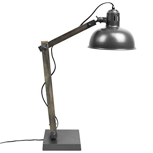 Tischlampe E14 40W Grau Holz/Metall flexibel verstellbar Tischleuchte Stehlampe Stehleuchte Leselampe Leseleuchte
