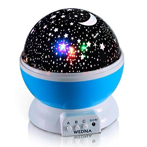 Wedna Neuheit 360 drehbar Galaxy Night Light, romantisch, Cosmos Star Moon Sky Projektor, Idee Schlafzimmer Lampe für Kinder und Baby – beruhigend und entspannend (blau)(Rosa) (lila)