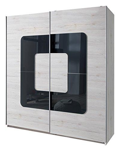 Wimex Kleiderschrank/Schwebetürenschrank Curve, (B/H/T) 180 x 198 x 64 cm, Weißeiche/Absetzung Glas Grey