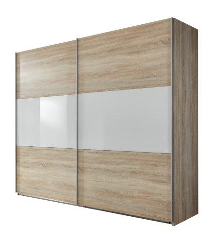 Wimex Kleiderschrank/Schwebetürenschrank Match Up, (B/H/T) 225 x 236 x 65 cm, Eiche Sägerau/Absetzung Glas Weiß