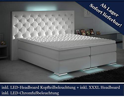 XXXL Boxspringbett Designer Boxspring Bett LED Weiss Chesterfield