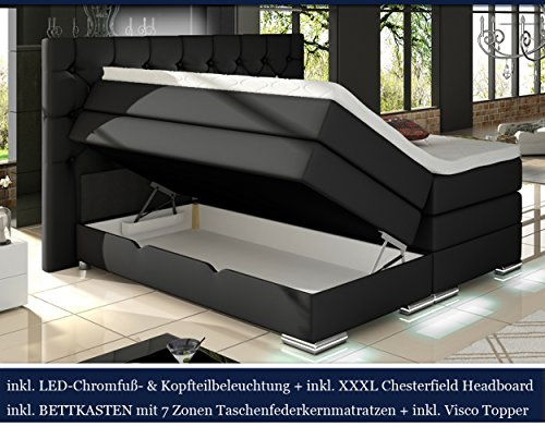 XXXL MAILAND Boxspringbett mit Bettkasten Designer Boxspring Bett Chesterfield LED SCHWARZ CHESTERFIELD DESIGN