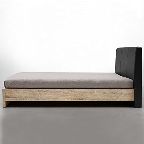 [en.casa] Design Polsterbett 'Skandinavia' (Furnier - Eiche Natur | Polster schwarz) modernes Bett / PU-Kunstleder / mit Stecklattenrost /