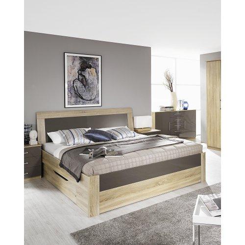 m bel24 boxspringbett rauch komfortbett arona eiche sonoma nb mit absetzung in hochglanz. Black Bedroom Furniture Sets. Home Design Ideas