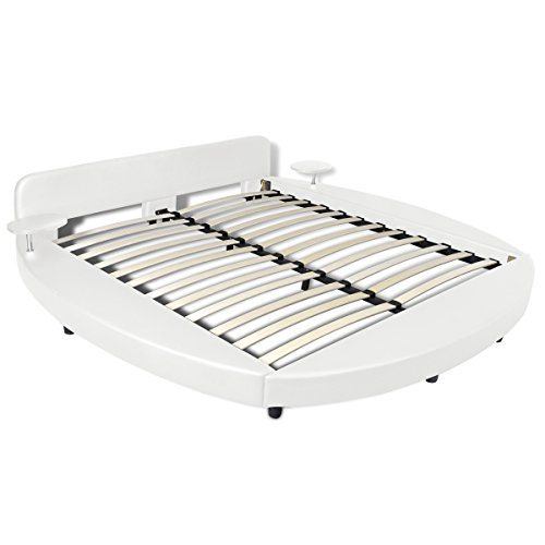 vidaXL Rundbett Kunstleder Polsterbett Doppelbett mit Lattenrost 2 Nachttische