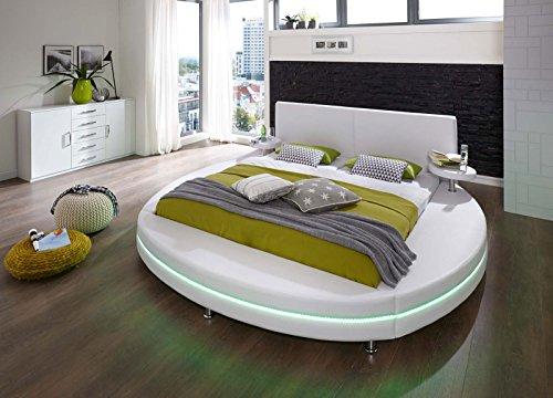 SAM® Polsterbett 180x200 cm Glasgow, weiß, Rundbett mit gepolstertem Kopfteil, Bett mit Nachttischen und LED-Beleuchtung