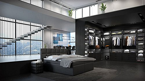 m bel24 sam design boxspringbett merida eco kunstlederbezug in schwarz box mit nosag. Black Bedroom Furniture Sets. Home Design Ideas