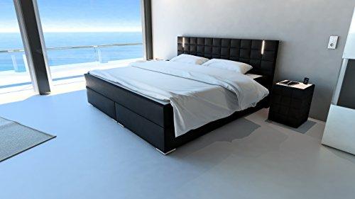 m bel24 sam design boxspringbett mit samolux bezug in schwarz led beleuchtung. Black Bedroom Furniture Sets. Home Design Ideas