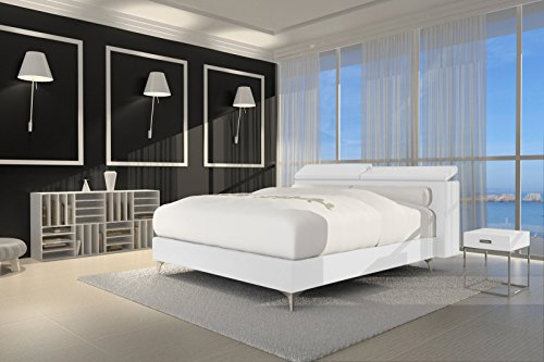 sam design boxspringbett waterfall lima wei mit 7 zonen h2 taschenfederkern matratze und chrom. Black Bedroom Furniture Sets. Home Design Ideas
