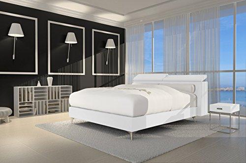 SAM® Design Boxspringbett Waterfall Lima weiß mit 7-Zonen H2 Taschenfederkern-Matratze und Chrom-Füßen 180 x 200 cm