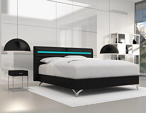 SAM® Design Boxspringbett Almeria Grenada schwarz mit Bonellfederkern in Massiv-Holz-Rahmen,Chrom-Füßen und LED-Beleuchtung 140 x 200 cm