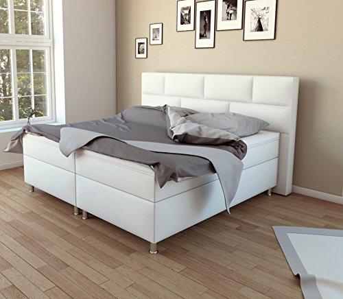SAM® Design Boxspringbett Bob in Weiß, Kunstlederbezug, Box mit Bonellfederkern, 7-Zonen Taschenfederkernmatratze, Viscoschaum-Topper, FSC® 100 % zertifiziert, 200 x 200 cm