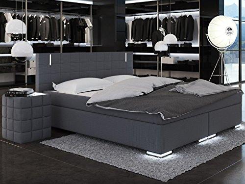 SAM® LED-Boxspringbett Berlin mit Neo Stoff®-Bezug in anthrazit, LED-Beleuchtung an Füßen & Kopfteil, Bonellfederkern-Matratze H3, Topper, 200 x 200 cm