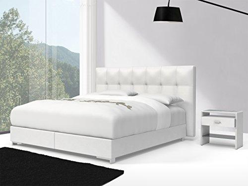 SAM® Design Boxspringbett Zadar Toronto weiß mit Bonellfederkern in Massiv-Holz-Rahmen und Chrom-Füßen, 180 x 200 cm