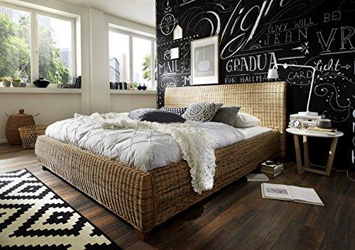 SAM® Rattanbett in dust, natürlicher Look, ausgefallenes Design, angenehmer Liegekomfort, 180 x 200 cm [53257470]