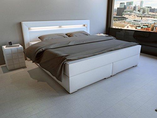 SAM® LED-Boxspringbett 180x200 cm, Austin, Kunstleder weiß, Bonellfederkern-Matratze H3