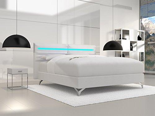 SAM® Design Boxspringbett Almeria Grenada weiß mit 7-Zonen H2 Taschenfederkern-Matratze, Chrom-Füßen und LED-Beleuchtung 180 x 200 cm