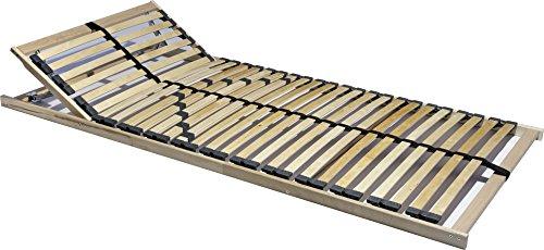 i-flair 7 Zonen Lattenrost 90cm x 200cm Oder 140cm x 200cm, 28 Leisten, Härte- und Kopfteil Verstellbar mit Mittelgurt, 180 kg