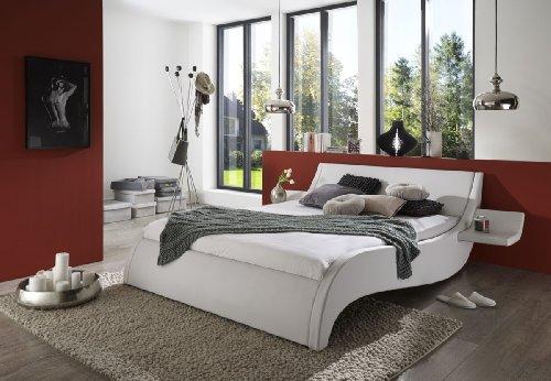 SAM® Polsterbett 180x200 cm Murcia, weiß, Bett mit gepolstertem Kopfteil, modernes Design