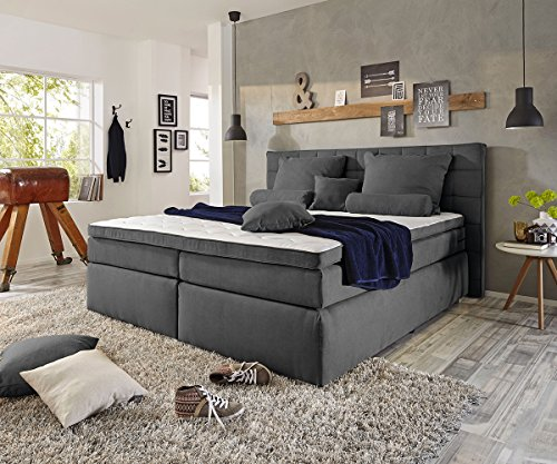 delife bett isobel anthrazit 180x200 cm matratze topper federkern boxspringbett. Black Bedroom Furniture Sets. Home Design Ideas