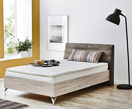 bett pauleen sandeiche dekor 120x200 kopfteil gepolstert boxspringbett. Black Bedroom Furniture Sets. Home Design Ideas