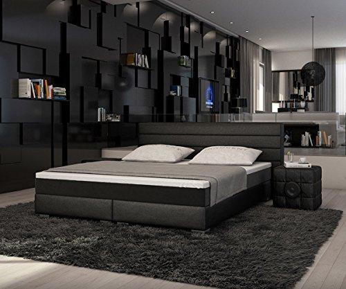 bett sirena schwarz 180x200 cm mit topper und matratze. Black Bedroom Furniture Sets. Home Design Ideas