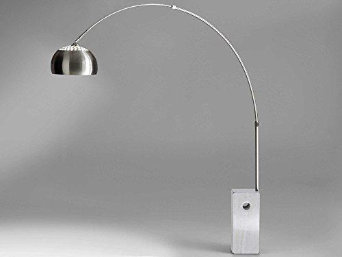 Moebella Bogenleuchte Stehleuchte Bogenlampe Marmorfuß weiß VIVIANA Edelstahl Silber Stehlampe