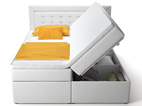 Boxspringbett mit Bettkasten weiß Celia2 Doppelbett Hotelbett Topper Taschenfederkern