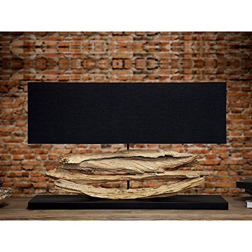 CAGÜ - DESIGN XL TISCHLAMPE TISCHLEUCHTE [TIMOR] SCHWARZ aus TREIBHOLZ HANDGEFERTIGT 80cm BREITE