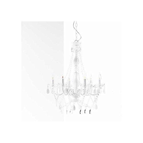CAGÜ - MÄRCHENHAFTER DESIGN KRONLEUCHTER LÜSTER [CHANTAL] WEISS 6-ARMIG 55cm Ø