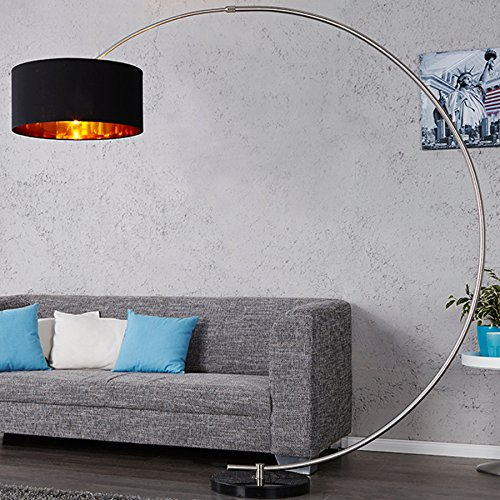 design bogenlampe python in schwarz gold bogenleuchte mit dimmer stehleuchte m bel24. Black Bedroom Furniture Sets. Home Design Ideas