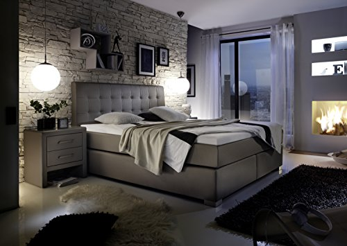 design boxspringbett hotelbett grau 200 x 200 cm h2 h3. Black Bedroom Furniture Sets. Home Design Ideas