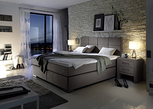 design boxspringbett hotelbett taupe 200 x 200 cm h3 h3. Black Bedroom Furniture Sets. Home Design Ideas