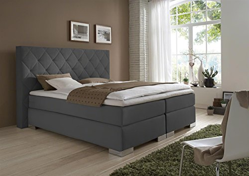 dico boxspringbett delta bs9050 h2 h3 180 cm x 220 cm stoff grau topper kaltschaum. Black Bedroom Furniture Sets. Home Design Ideas