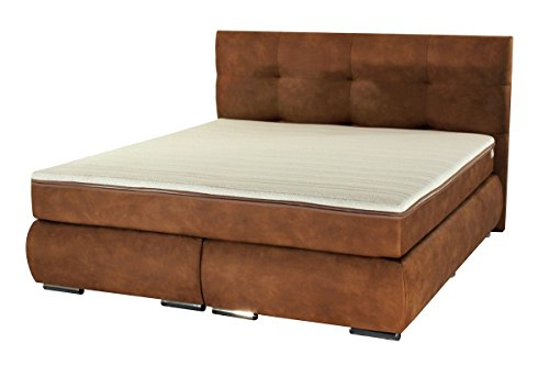 dreams4home boxspringbett paris kunstleder braun 90. Black Bedroom Furniture Sets. Home Design Ideas