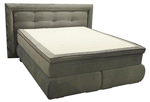 dreams4home boxspringbett inkl topper hotelbett doppelbett 39 ohio 39 anthrazit 90 100 120 140. Black Bedroom Furniture Sets. Home Design Ideas