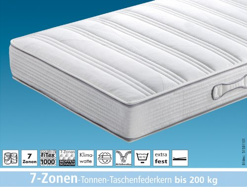 hukla 7 zonen tonnen taschenfederkern matratze dura ta bis 200 kg belastbar 120 200 cm. Black Bedroom Furniture Sets. Home Design Ideas