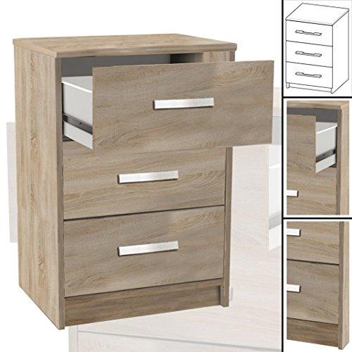 NACHTTISCH #127 sonoma-eiche 3x Schublade Holz Nachtschrank Nachtisch (67cm hoch)